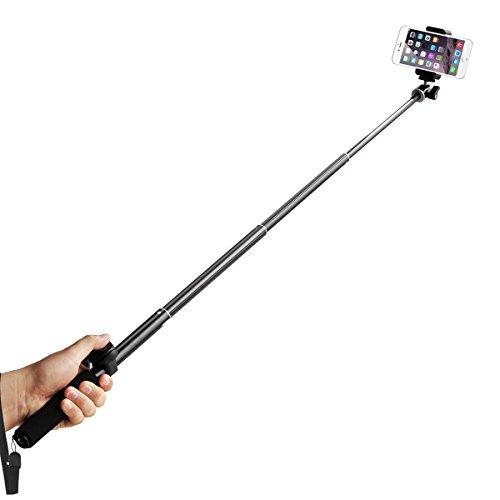 ec technology 4 section extendable bluetooth selfie stick for smartphones black tripod store. Black Bedroom Furniture Sets. Home Design Ideas